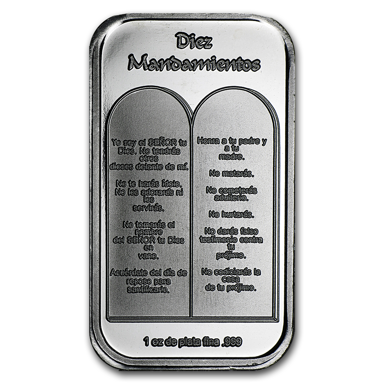 1 oz Silver Bar - Ten Commandments (Spanish)